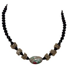 Faceted Black Glass Bead Necklace