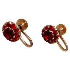 Gold Tone Ruby Red Rhinestone Earrings