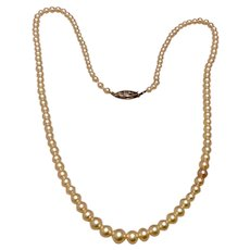 Double Strand Simulated Pearl Necklace Rhinestone Clasp