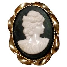 Celluloid Gold Tone Cameo Brooch NOS
