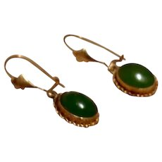 Vintage Gold Filled Faux Jade Dangle Earrings