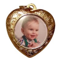 Gold Tone Heart Shaped Photo Pendant