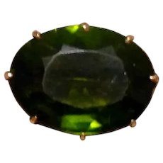 Gold Filled Green Faceted Crystal Brooch