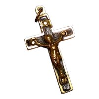Early Catholic Crucifix Ebony Inlay