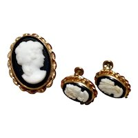 Van Dell 12K Gold Filled Brooch Pendant & Earrings
