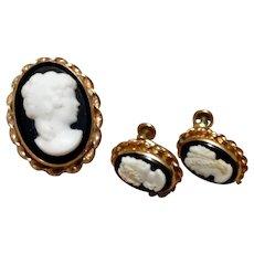 Van Dell 12K Gold Filled Brooch Pendant & Earrings