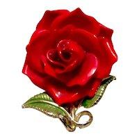 Red Rose Gold Tone Enameled Brooch