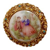 Gold Tone Hand Painted Brooch Pendant