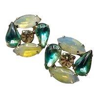 Silver Tone Faux Moonstone & Teal Green Rhinestone Earrings