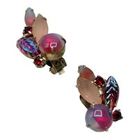 Pink Red & Teal Green Rhinestone Earrings