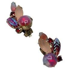 Pink Red & Teal Green Rhinestone Earrings