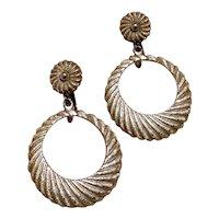 Vendome Silver Tone Textured Hoop Earrings