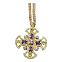 Gold Tone Clear Green Gold & gold .Purple Maltase Pendant Necklace