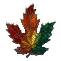 Sterling Silver Enameled Maple Leaf Brooch