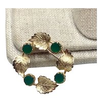 12K Gold Filled Green Stone Brooch