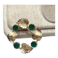 12K Gold Filled Green Stone Brooch