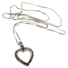 Sterling Marcasite Heart Pendant Necklace