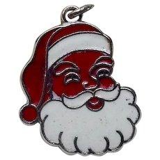 Sterling Enameled Santa Face Charm
