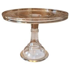 19th Century Pedestal Glass Cake Stand 11 5/8""