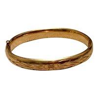 12K Gold Filled Hinged Bangle Bracelet Bojar