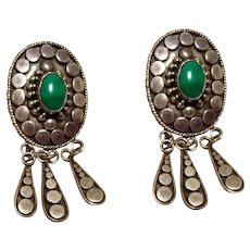 Native American Sterling Turquoise Dangle Earrings