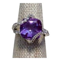 Modernist Amethyst & Clear CZ Ring Sterling Size 5