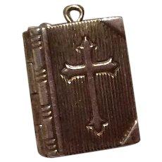 Bible Mechanical Charm Lord's Prayer Sterling