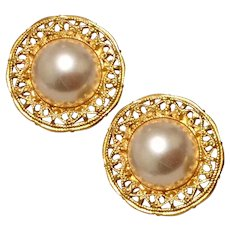 Faux Pearl Gold Tone Earrings Napier