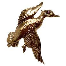 JC Ferrara Yellow Gold Over Sterling Silver Detail Duck In Flight Brooch Pendant