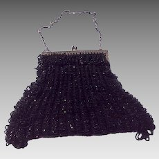Art Deco Black Beaded Fringed Purse