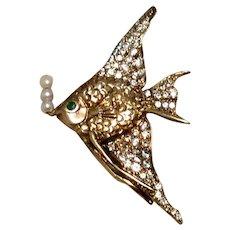 JC Ferrara Rhinestone Pin Pendant Yellow Gold Over Sterling Silver Angle Fish