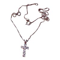 Sterling Silver Rhinestone Cross & Chain