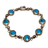 Mexican Sterling Turquoise Link Bracelet