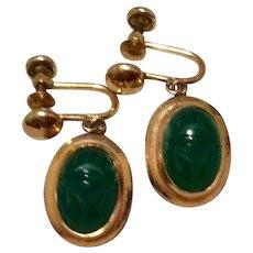 Gold Filled Scarab Dangle Earrings Screw Back