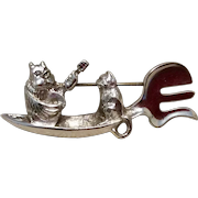 Thomas Owl & Pussycat In Boat Brooch J H Breakell Sterling