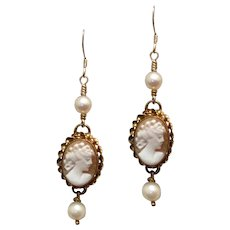 Upcycled Cameo Pearl Dangle Earrings Gold Filled