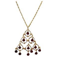 Gold Tone Dangle Pendant Necklace