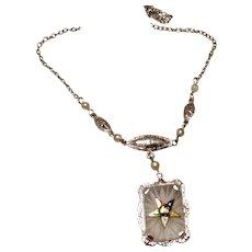 Camphor Glass Enameled Pendant Necklace 10K Eastern Star