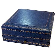 Blue Leatherette Pocket Watch Display Box