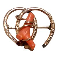 Gold Filled Coral Horseshoe Brooch