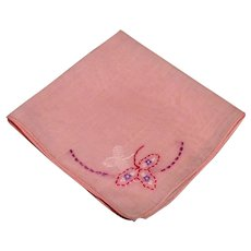 Pink Hand Embroidered Handkerchief