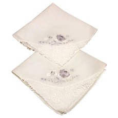 Pair White Handkerchiefs Floral Embroidering