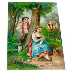 Victorian Chromolithograph Young Lovers