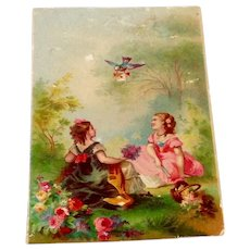 Victorian Chromolithograph Two Young Ladies & Bird Carrying Love Letter