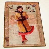 Victorian Lady Ice Skating Trade Card