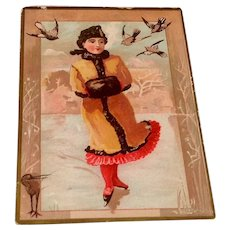 Victorian Lady Ice Skating Trade Card