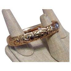 Repousse Hinged Bangle Bracelet Gold Filled