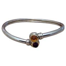 Sterling 18K Amber Bypass Bracelet