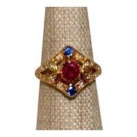 Ruby Sapphire Diamond 18K Ring 6 1/4