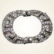 Rhinestone Pot Metal Belt Buckle Art Deco